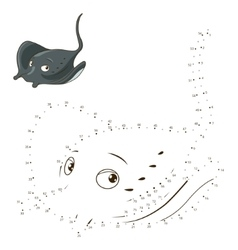 Connect dots to draw game stingray vector