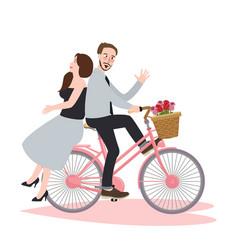 Couple riding bike bicycle romance beautiful vector