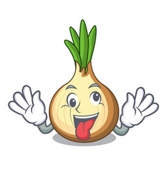 Crazy fresh yellow onion isolated on mascot vector