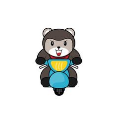 Cute bear ride motorcycle vector