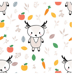 Cute seamless pattern with little deer and fruits vector