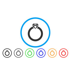 diamond ring rounded icon vector image