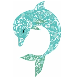 dolphin turquoise vector image