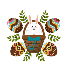 Eggs easter with rabbit inside hamper and branches vector