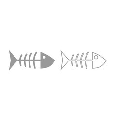 fish sceleton icon grey set vector image