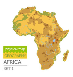 Flat africa physical map constructor elements vector