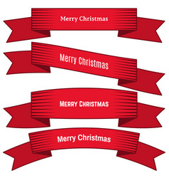 four red ribbons with inscription merry christmas vector image