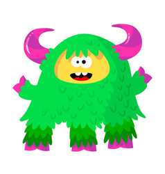 funny fluffy monster with bright green fur and vector image