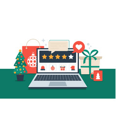 Gift review online on laptop christmas shopping vector