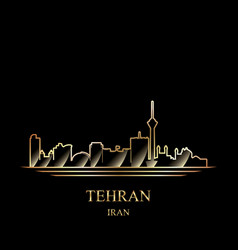 gold silhouette of tehran on black background vector image