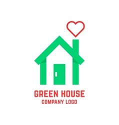 Green house with line heart instead of smoke vector