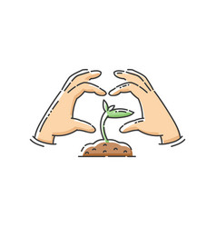 Green plant sapling icon with hands in heart shape vector