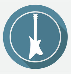 Guitar icon on white circle with a long shadow vector