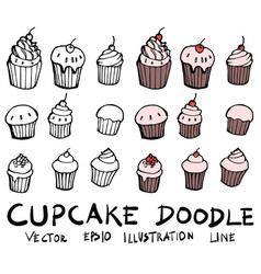 hand drawn cupcake isolated sketch black and vector image