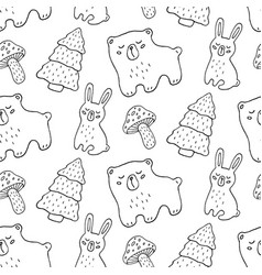 hand drawn forest animals seamless pattern vector image