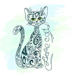 hand drawn printable of sitting zentangle cat with vector image