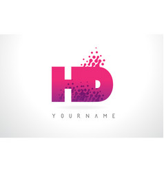 Hd h d letter logo with pink purple color and vector