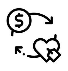 Heart dollar coin icon outline vector