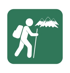 Hiking tourist mountains icon vector