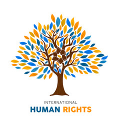 Human rights concept tree for people equality vector