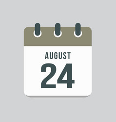Icon day date 24 august template calendar page vector