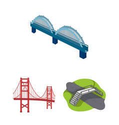Isolated object of bridge and construction logo vector