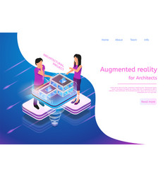 Isometric banner augmented reality for architects vector