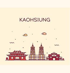 kaohsiung skyline taiwan city linear style vector image