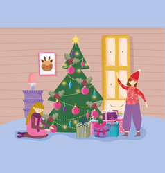 Kids in living room with tree merry christmas vector
