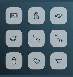 Kitchenware icons line style set with ladle vector