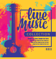 live music poster with multicolor acoustic guitars vector image