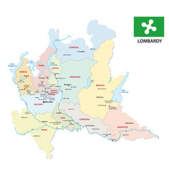 Lombardy administrative and political map with vector