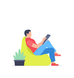 Man is working at his tablet vector
