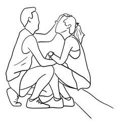 man touching his lover with love and care vector image
