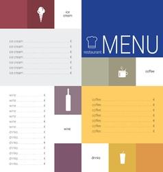 menu color vector image