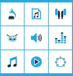 music icons colored set with sound earphone file vector image
