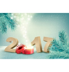 Natural winter background with 2017 sign and a vector image