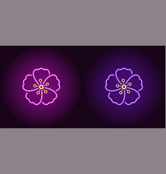 neon hawaiian flower in purple and violet color vector image