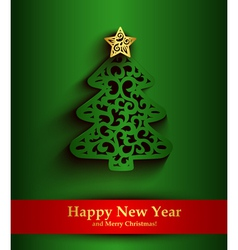 New Year green greeting card with silhouette of vector image