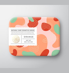 Orange bath cosmetics package box wrapped vector