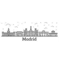 outline madrid spain city skyline with historic vector image