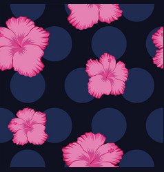 pink hibiscus abstract seamless blue circles vector image