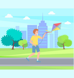 playing boy with kite running in urban park at vector image