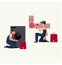 Plumbing specialist plumber at work repairing vector