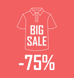 polo shirt on a red background with a big sale and vector image