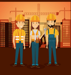 professional construction people characters with vector image
