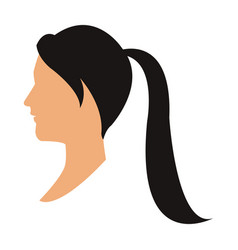 Profile head woman with ponytail black hair vector