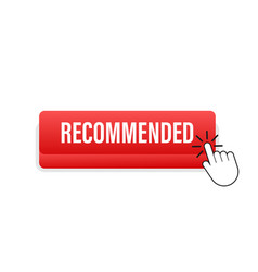recommend button white label recommended on red vector image