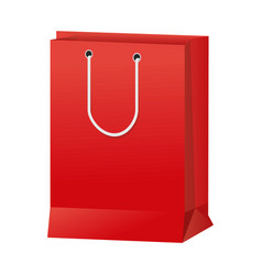 Red paper shopping bag handle package icon vector