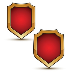 Refined red shield shape emblems with golden vector
